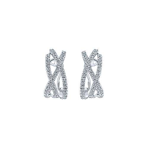 14k White Gold Lusso Diamond Drop Earrings angle 3