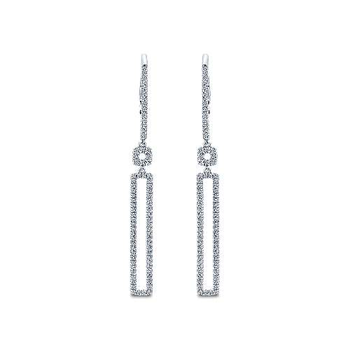 Gabriel - 14k White Gold Lusso Diamond Drop Earrings