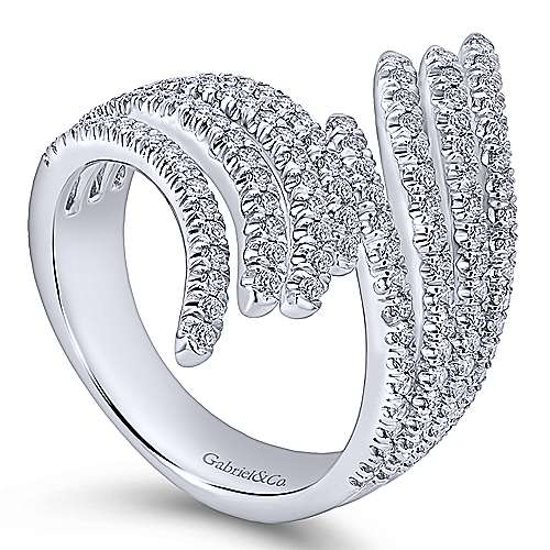 14k White Gold Lusso Diamond Fashion Ladies' Ring angle 3