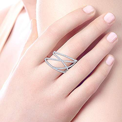 14k White Gold Lusso Diamond Fashion Ladies' Ring angle 5