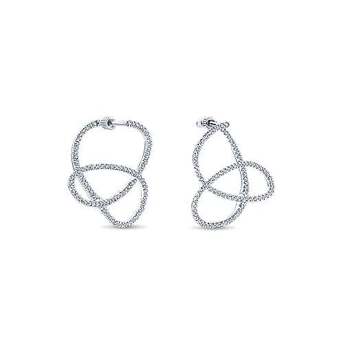 14k White Gold Lusso Diamond Intricate Hoop Earrings angle 3