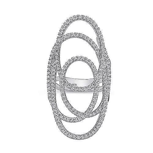14k White Gold Lusso Diamond Statement Ladies' Ring angle 4