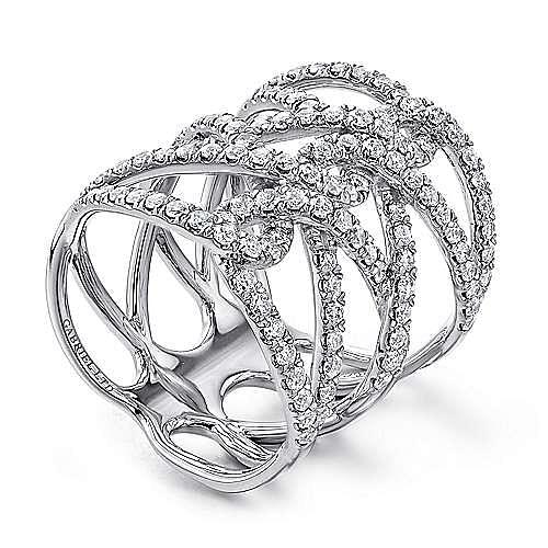 14k White Gold Lusso Diamond Statement Ladies' Ring angle 3
