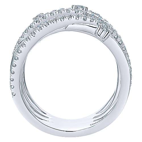 14k White Gold Lusso Diamond Wide Band Ladies' Ring angle 2
