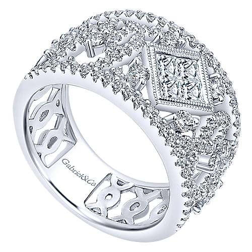 14k White Gold Lusso Diamond Wide Band Ladies' Ring angle 3
