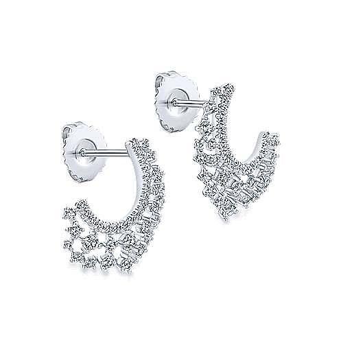 14k White Gold Lusso Drop Earrings angle 2