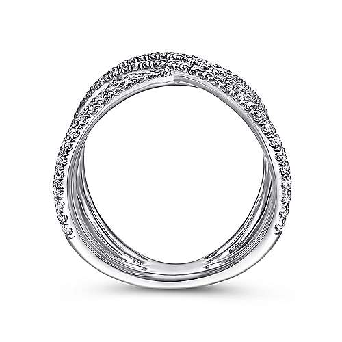 14k White Gold Lusso Fashion Ladies' Ring angle 2