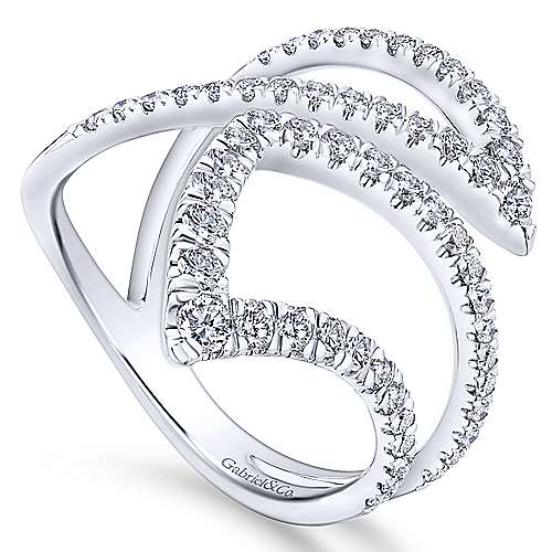 14k White Gold Lusso Fashion Ladies' Ring angle 3