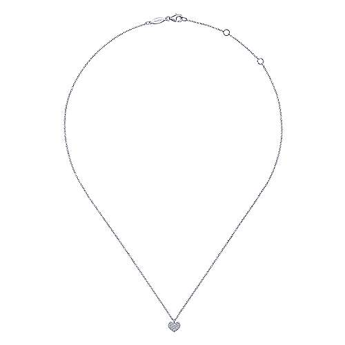 14k White Gold Lusso Heart Necklace