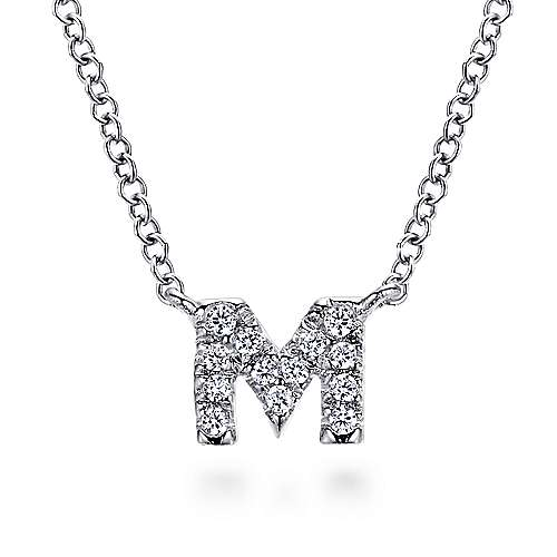 14k White Gold Lusso Initial Necklace