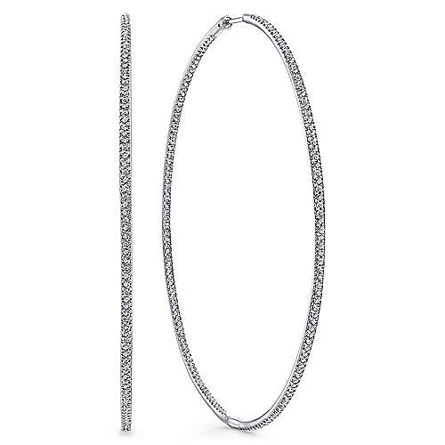 Gabriel - 14k White Gold Lusso Inside Out Diamond Hoop Earrings