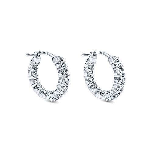 14k White Gold Lusso Inside Out Diamond Hoop Earrings