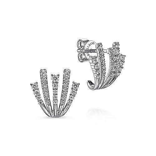 14k White Gold Lusso J Curve Earrings
