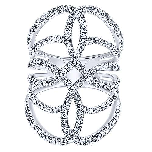 14k White Gold Lusso Statement Ladies' Ring angle 4