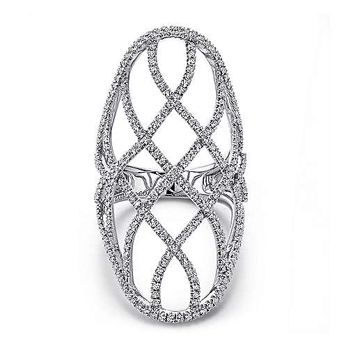 14k White Gold Lusso Statement Ladies' Ring angle 1