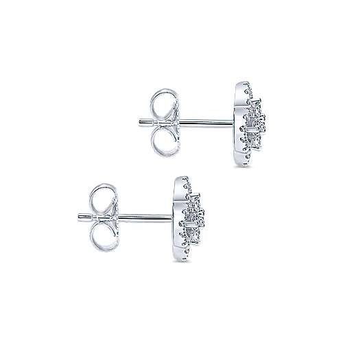 14k White Gold Lusso Stud Earrings angle 3