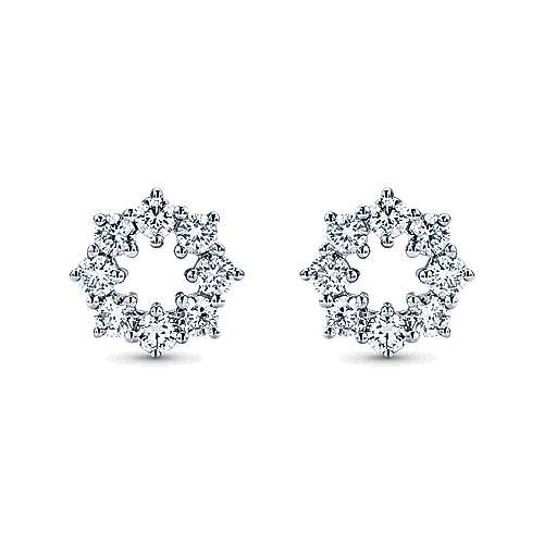 14k White Gold Lusso Stud Earrings angle 1