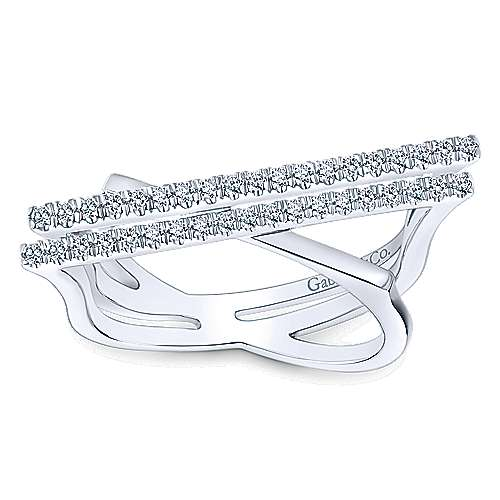14k White Gold Lusso Twisted Ladies' Ring angle 4