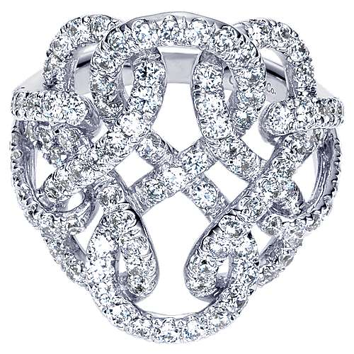 Gabriel - 14k White Gold Lusso Twisted Ladies' Ring