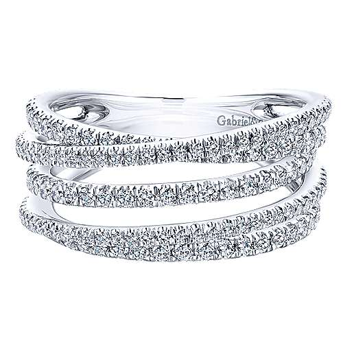 Gabriel - 14k White Gold Lusso Wide Band Ladies' Ring