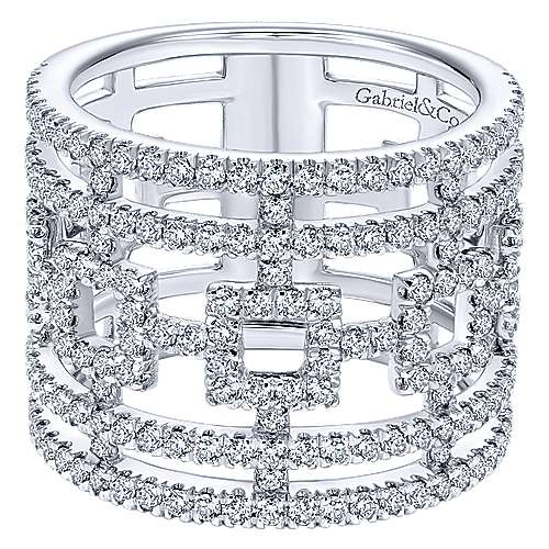 14k White Gold Lusso Wide Band Ladies' Ring angle 1