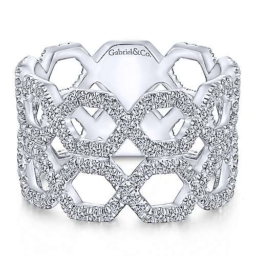 Gabriel - 14k White Gold Lusso Wide Band Ladies Ring