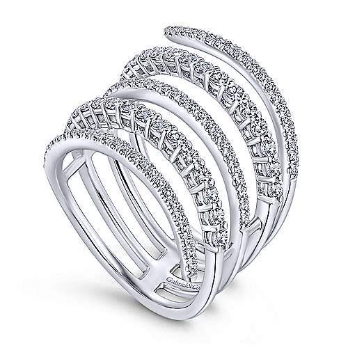14k White Gold Lusso Wide Band Ladies' Ring angle 3