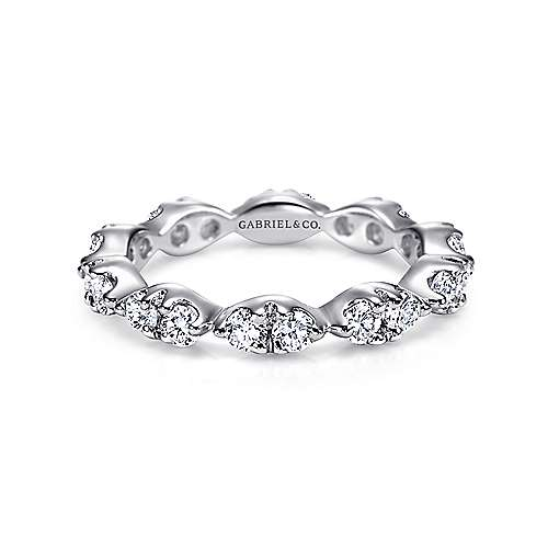 14k White Gold Marquis Shape Diamond Eternity Band