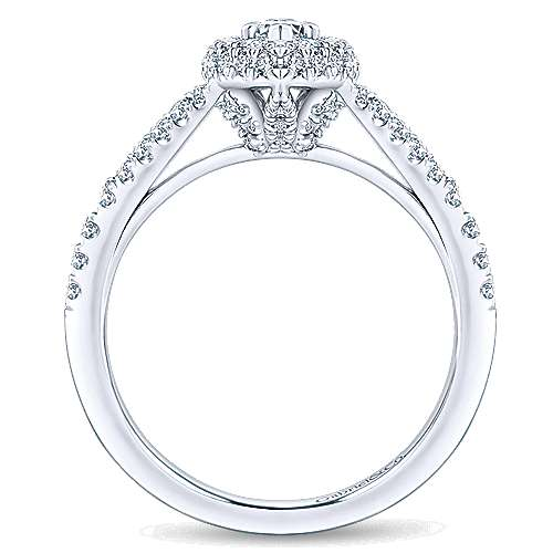 14k White Gold Marquise  Double Halo Engagement Ring angle 2