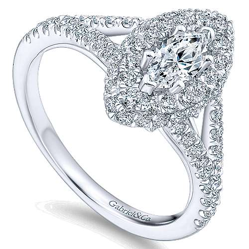 14k White Gold Marquise  Double Halo Engagement Ring angle 3