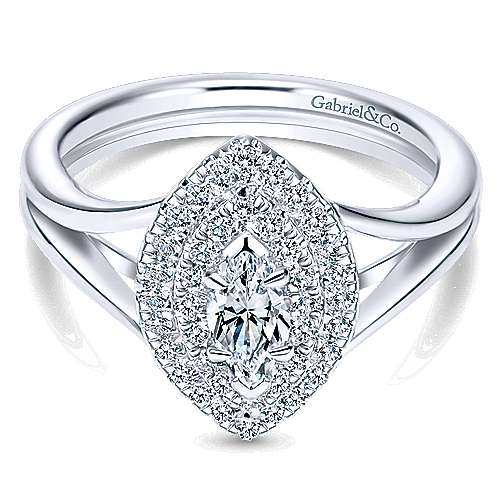 14k White Gold Marquise  Double Halo Engagement Ring angle 1