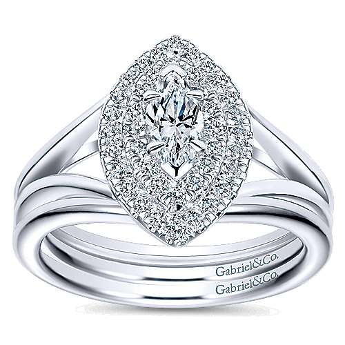 14k White Gold Marquise  Double Halo Engagement Ring angle 4