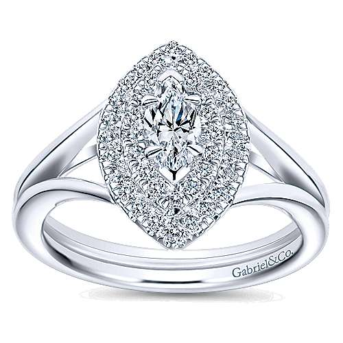 14k White Gold Marquise  Double Halo Engagement Ring angle 5