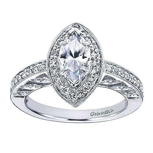 14k White Gold Marquise  Halo Engagement Ring angle 5