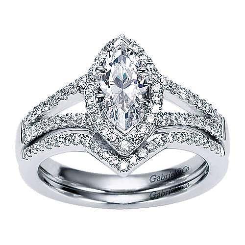 14k White Gold Marquise  Halo Engagement Ring angle 4