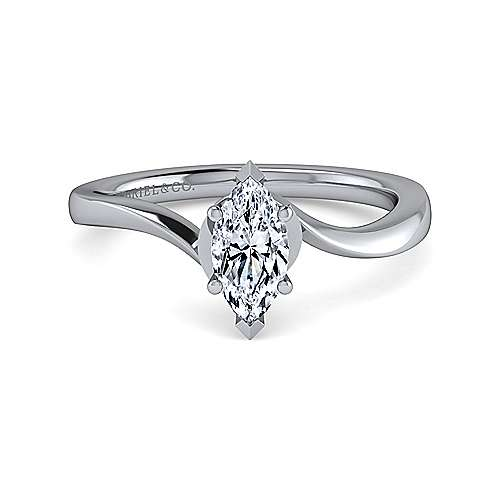 Gabriel - 14k White Gold Marquise  Solitaire Engagement Ring