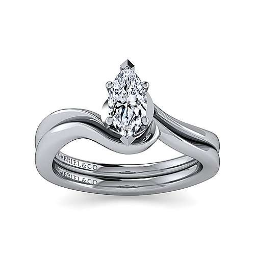 14k White Gold Marquise  Solitaire Engagement Ring angle 4