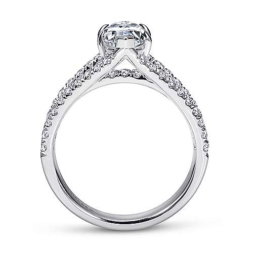 14k White Gold Marquise  Split Shank Engagement Ring angle 2