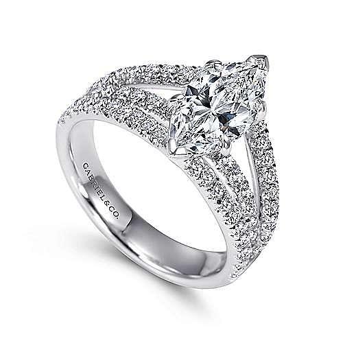 14k White Gold Marquise  Split Shank Engagement Ring angle 3