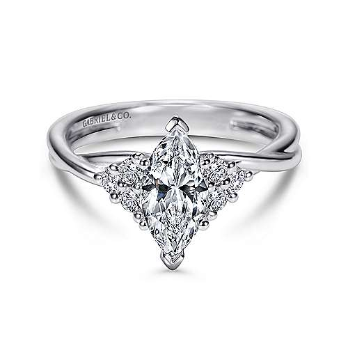14k White Gold Marquise  Twisted Engagement Ring angle 1