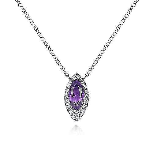 14k White Gold Marquise Cut Amethyst & Diamond Fashion Necklace