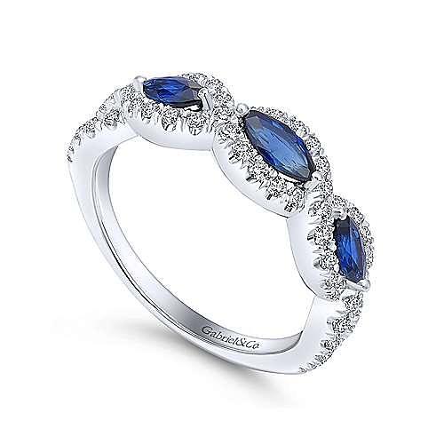 14k White Gold Marquise Sapphire & Pave Diamond Fashion Ring