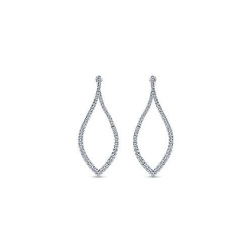 14k White Gold Marquise Silhouette Intricate Diamond Hoop Earrings
