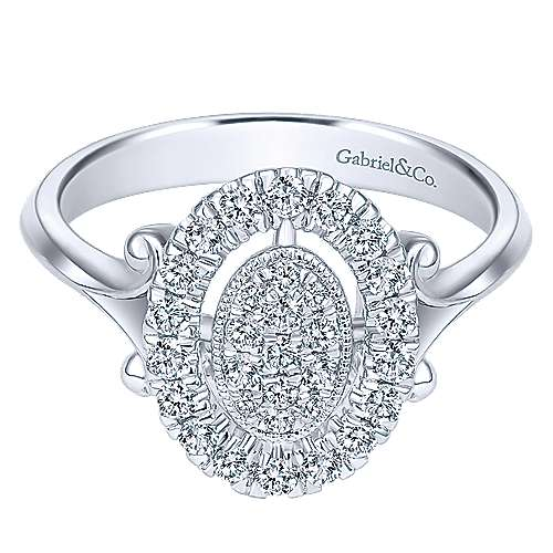 Gabriel - 14k White Gold Messier Classic Ladies' Ring