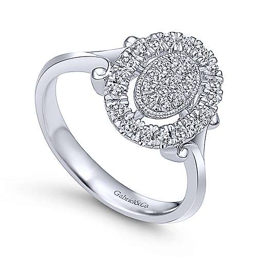 14k White Gold Messier Classic Ladies' Ring angle 3