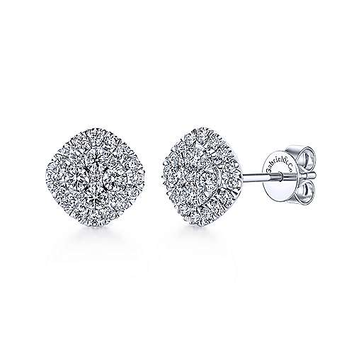 14k White Gold Messier Stud Earrings angle 1