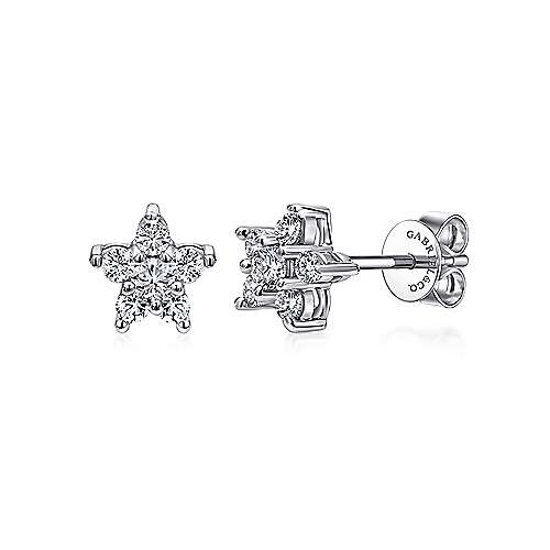 14k White Gold Messier Stud Earrings angle 1