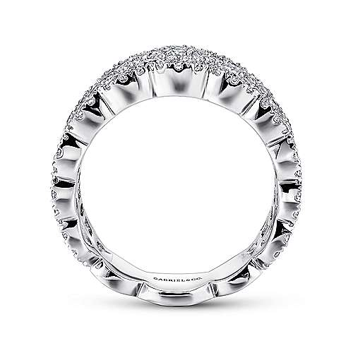 14k White Gold Messier Wide Band Ladies' Ring angle 2