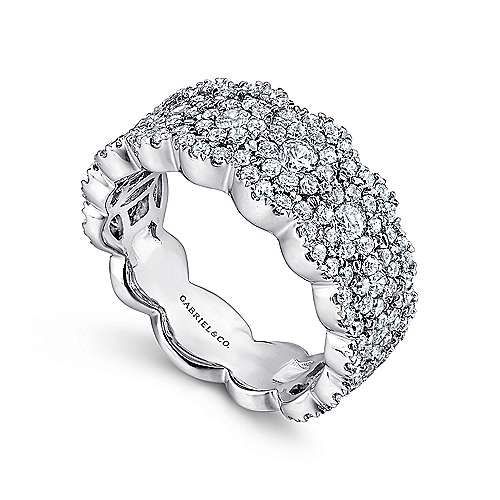 14k White Gold Messier Wide Band Ladies' Ring angle 3