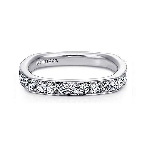 Gabriel - 14k White Gold Micro Pavé Channel Set Euro Shank Band
